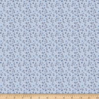 Stoffabric Denmark Avalana Jersey Viscose Flowers And Dots Light Blue