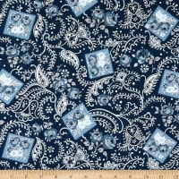 Riley Blake Designs Tranquility Paisley Navy