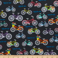 Whistler Studios Enjoy The Ride Bicycles With Flowers Charcoal
