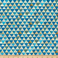 Whistler Studios Wish Collaged Triangles Linen Blend Peacock