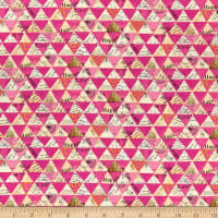 Whistler Studios Wish Collaged Triangles Linen Blend Hot Pink