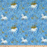 Windham Fabrics Heather Ross 20th Anniversary Unicorn Blue