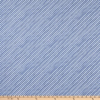 Windham Fabrics Organic Winter Gnomes Diagonal Stripe Nordic Blue
