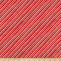 Windham Fabrics Organic Winter Gnomes Diagonal Stripe Red