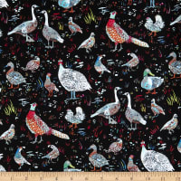 Windham Fabrics Fox Wood Bird Season Black