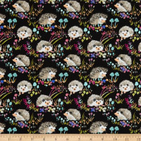 Windham Fabrics Fox Wood Hedgehogs Black