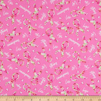 Windham Fabrics Love Pink Rose Ribbons Pink