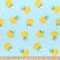 Comfy Flannel Print Rubber Ducks With Hats Blue