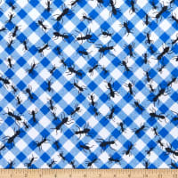 Comfy (R) Flannel Print Ants On A Blue Check