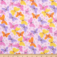 Comfy (R) Flannel Print Colorful Butterflies & Flowers