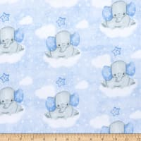 Comfy (R) Flannel Print Elephants On Clouds