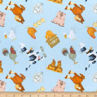 Comfy Flannel Print Farm Animal Toss Blue