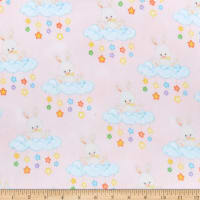 Comfy Flannel Print Bunnies On Clouds With Multicolored Stars Pink