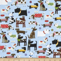 Comfy Flannel Print Assorted Dogs Blue