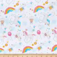 Comfy Flannel Print Unicorns & Llamas White