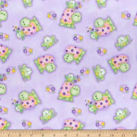 Comfy Flannel Print Turtles, Frogs & Flowers Purple