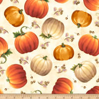 QT Fabrics Harvest Elegance Tossed Pumpkins Cream