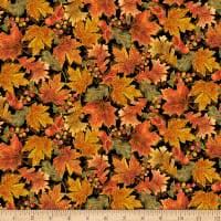 QT Fabrics Harvest Elegance Leaves Black