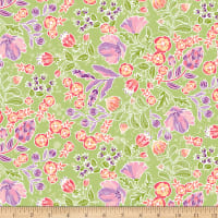 QT Fabrics Garden Journal Wildflowers Light Moss