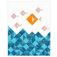 "QT Fabrics Digital Ocean Paradise 59"" x 76"" Little Fish Quilt Kit"