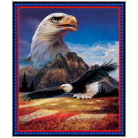 "QT Fabrics Artworks XVI Digital American Eagle 36"" Panel Blue"