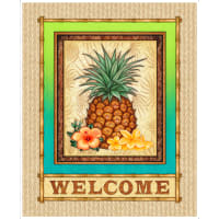 "QT Fabrics Postcards From Paradise Pineapple Welcome 36"" Panel Bamboo"