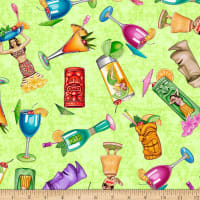 QT Fabrics Postcards From Paradise Tropical Drinks Light Green