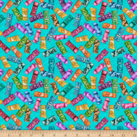 QT Fabrics Postcards From Paradise Tiki Toss Turquoise