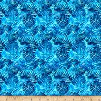 QT Fabrics Postcards From Paradise Palm Leaves Blue
