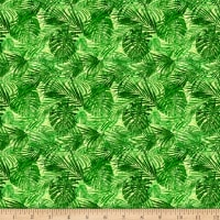 QT Fabrics Postcards From Paradise Palm Leaves Green