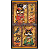 "QT Fabrics Steampunk Halloween 24"" Panel Multi"