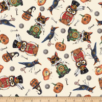 QT Fabrics Steampunk Halloween Toss Cream