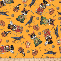 QT Fabrics Steampunk Halloween Toss Orange