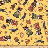 QT Fabrics Steampunk Halloween Toss Gold