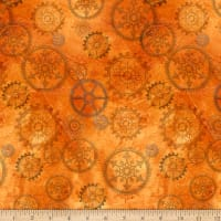 QT Fabrics Steampunk Halloween Gears Orange