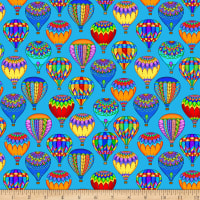 QT Fabrics Bright Balloon Fest Packed Hot Air Balloons Blue