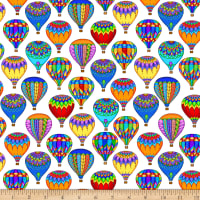 QT Fabrics Bright Balloon Fest Packed Hot Air Balloons White