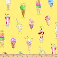 QT Fabrics Digital What's The Scoop Ice Cream Yellow