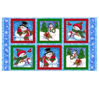 "QT Fabrics Digital Frosty Friends Snowmen Picture Patches 23"" Panel Blue"
