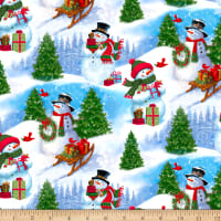 QT Fabrics Digital Frosty Friends Snowman Scenic Blue