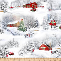 QT Fabrics Back Home For The Holidays Christmas Winter Scenic