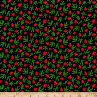 QT Fabrics Back Home For The Holidays Pine & Bows Black