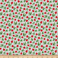 QT Fabrics Back Home For The Holidays Pine & Bows Light Gray