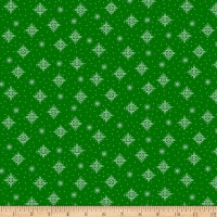 QT Fabrics Back Home For The Holidays Snowflakes Green