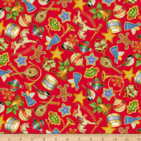 QT Fabrics Digital O Tannenbaum Ornaments Red