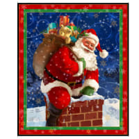 "QT Fabrics Digital Gifts From Santa 36"" Santa Panel Red"