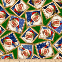 QT Fabrics Digital Gifts From Santa Santa In Frames Green