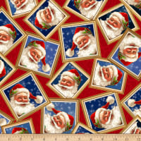 QT Fabrics Digital Gifts From Santa Santa In Frames Red
