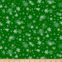 QT Fabrics Digital Gifts From Santa Snowflakes Green