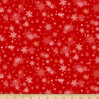 QT Fabrics Digital Gifts From Santa Snowflakes Red
